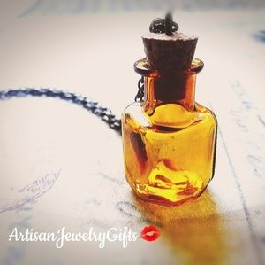 Amber Bottle Necklace Tiny Glass Bottle Necklace
